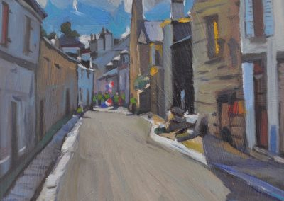 4. Will Ashton's 'An Old Street, Concarneau, France' 1932 with Yellow Vest protesters. 13h x 16w cm. Oil on board