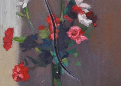 44. Max Meldrum's 'Carnations' n.d. with diagonal slash. 16h x 14w cm. Oil on board
