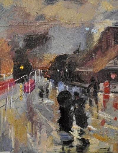 45. Girolamo Nerli's 'A Wet Evening' 1888 with light rail inconvenience. 14h x 17.5 cm. Oil on board