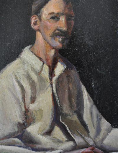 47. Girolamo Nerli's 'Portrait of Robert Louis Stevenson' 1892 while penning a poem for Nerli. 21h x 13w cm. Oil on board