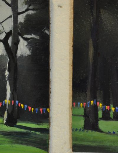 48a & 48b.  A.E. Newbury's 'Under the trees' and 'Morning light' 919, with'once only opportunity'.  17h x12.5w cm & 16h x 12.5w cm. Oil on board