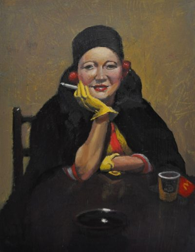 49. Esther Paterson's 'The Yellow Gloves (also known as Portrait of Betty Paterson)' 1938 moonlighting as Ronald McDonald. 18h x 14w cm. Oil on board