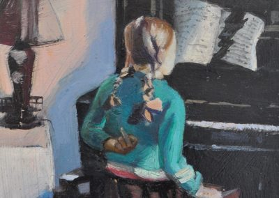 5. Herbert Badham's 'Interior' (also known as 'Girl at the Piano') 1937 with defiant Chebby. 18h x 12w cm. Oil on board