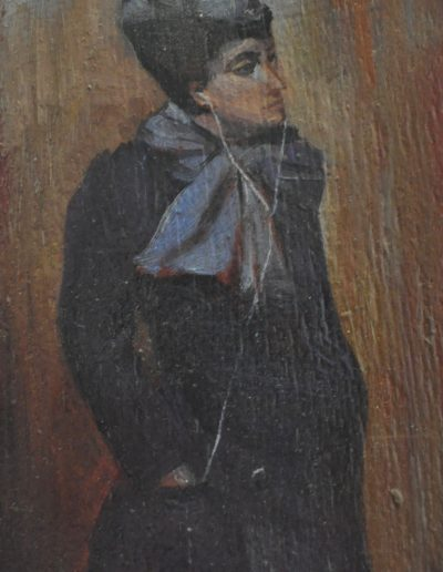 52. Tom Roberts' 'The Paris Hat' 1892 with Apple ear phones. 19.5h x 12w cm. Oil on board