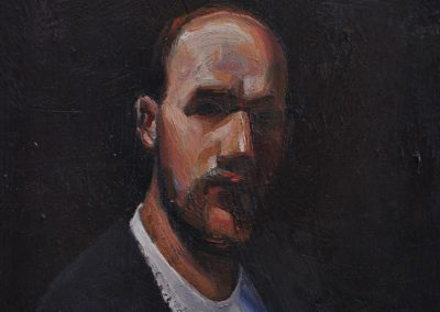 53. Tom Roberts' 'self portrait' 1889 wearing a Locus Non Consequensia t-shirt.  20h x 15w cm.  Oil on board