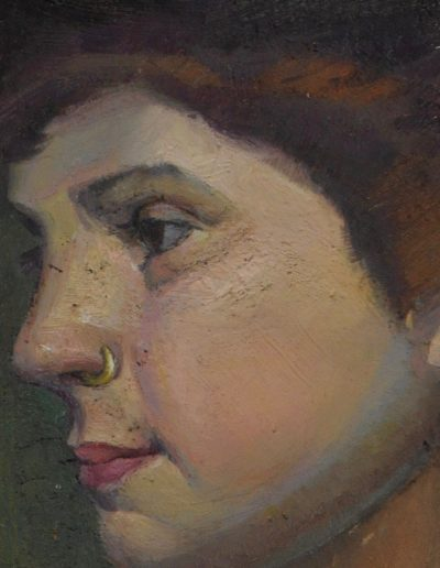 54.  Tom Roberts' 'Ms Isobel McDonald' 1895 with nose ring. 10h x 8w cm.  Oil on board