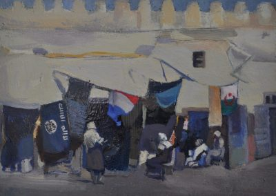 55.  Maud Sherwood's 'The Dyers Shop, Kairanan, Algeria' 1928 with potted history.  13h x 17.5w.  Oil on board