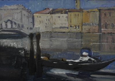 57. Arthur Streeton's 'Canal Scene, Venice' 1926 with sea rise consequence. 12h x 20w.  Oil on board