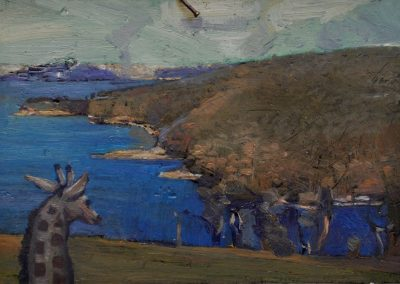 59. Arthur Streeton's 'Sydney from the Artist's Camp' (also known as 'Sydney Harbour from Sirius Cove') 1894 with giraffe.  12h x19w cm.  Oil on board