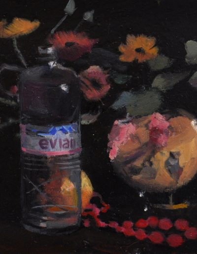 6.  Clarice Beckett's 'Ranunculi with Beads'.  1929, with Evian bottle.  11.5h x 16w cm. Oil on
