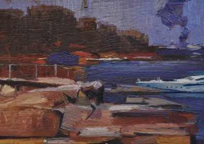 62. Arthur Streeton's 'Sirius Cove' 1890 with uninvited and unwanted intrusion.  12h x 19.5w cm.  Oil on board