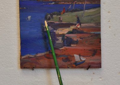65. Arthur Streeton's 'Blue Pacific' 1890 with toy boat.  20h x 13.5w cm.  Oil on board