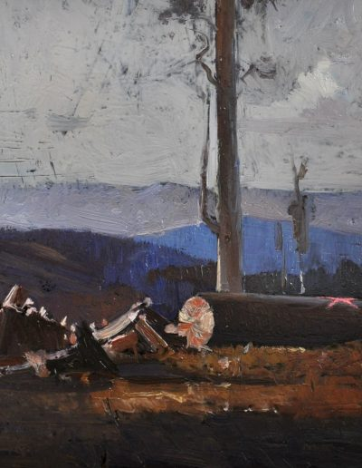 67.  Arthur Streeton's 'Last of the Messmates' (Dandenong Ranges, Victoria) 1928 with 'job done'.  21h x21w cm.  Oil on board