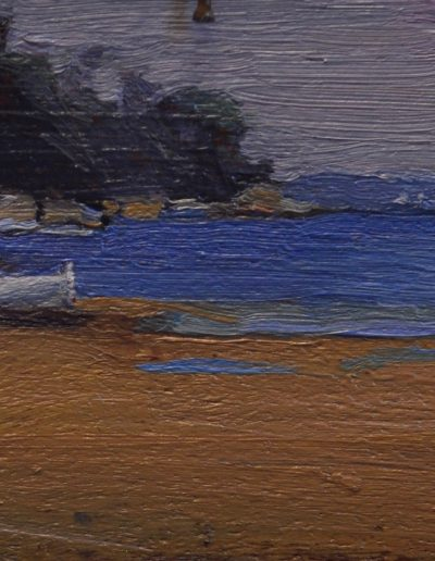 68.  Arthur Streeton's 'Sirius Cove' 1895 with metal detector.  7h x 19w cm.  Oil on board