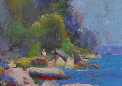 70. Arthur Streeton's 'Near Streeton's Camp at Sirius Cove' 1892 with Smike tag. 17h x 12w cm. Oil on board