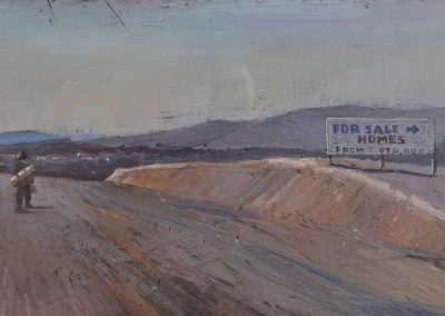71. Jane Sutherland's 'On the last tramp' 1888 with unaffordable option. 13h x 24w cm. Oil on board