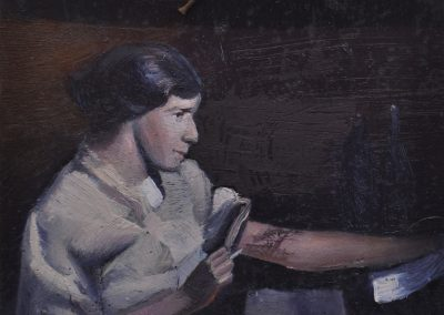 73.  Portrait of Jessie Traill 'Proofing  an etching by subdued light' c. 1920 by unknown photographer with 'The Drinking Man' 1914 tatt.  11h x 14w cm.  Oil on board