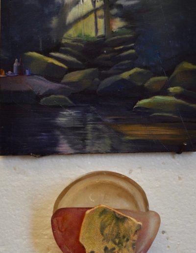 74. Artist unknown.  'Mosman Bay Falls with Picnic' n.d. 13h x 15w cm
