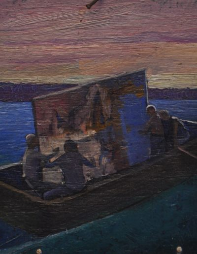 75.  Artist unknown.  'Taking 'Fire's On' across the harbour to AGNSW' n.d. 13h x 12w cm.  Oil on board