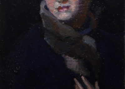 8.  George Bell's 'The Green Turban'.  1926, with recovered ring.  13h x7w cm. Oil on board