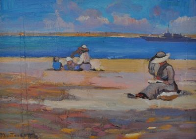 80. Walter Withers' 'On the Beach' 1917 with South Sea incursion. 13h x 18w cm. Oil on board