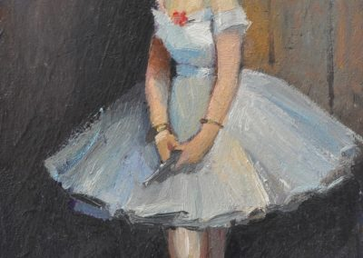 9. Jean Beraud's 'La Danseuse' 1873 with silver Glock. 15h x 9w cm. Oil on board