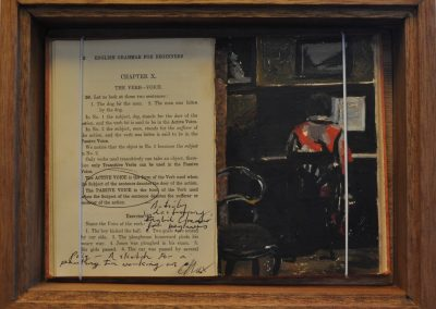 43.  Max Meldrum's 'Interior passage Dantzig, Paris' 1928, with L. Tipping, M.A.'s book 'English Grammar for Beginners'.  Exercise 87.  Write 5 sentences with a Retained Object in each.  23h x 30w cm.  Box Framed